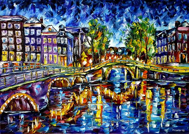 oilpainting,modern,impressionism,holland,netherlands,cityscape,amstel,ij,river,bridge,grachten,summerevening,canals,summernight