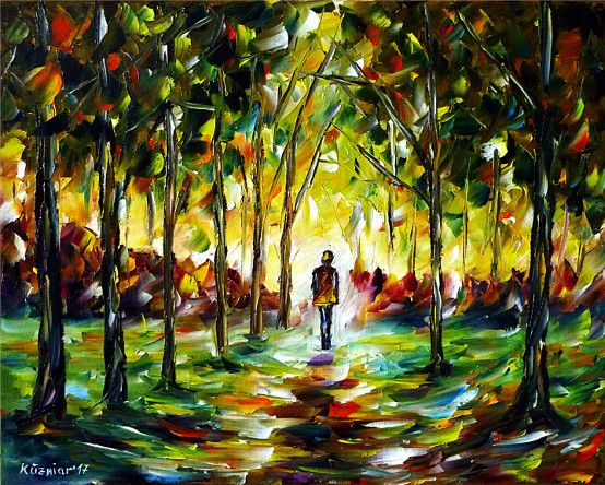 oilpainting, impressionism, autumn, autumnpark, walking, landscapepainting, nature