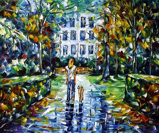 oilpainting,modern,impressionism,park,woman-with-a-dog,girl-with-a-dog,walking,cityscape,cityscene,old-cemetery,graves,monuments,natural monument,landscape,summer,spring,autumn,Kaiser-Wilhelm-Denkmal,Robert-Mayer