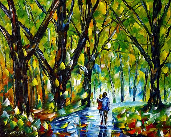 oilpainting, impressionism, lovecouple, walking, river, landscapepainting, autumn, summer, spring