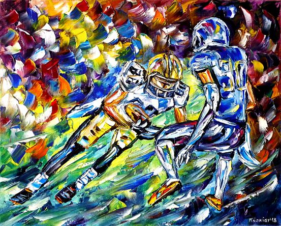 oilpainting,modern,impressionism,sports,menssports,playing,game,team,touchdown,fieldgoal,passing,running,interception,fumble,defense,offense,usa,america