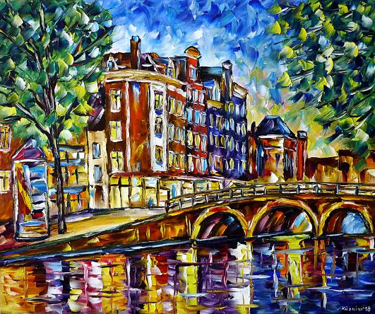 oilpainting,modern,impressionism,holland,netherlands,cityscape,amstel,ij,river,bridge,grachten,summerevening,canals
