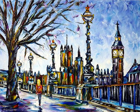 oilpainting,modern,impressionism,london,woman,walking,big-ben,cityscape,river,tower-bridge,london-bridge