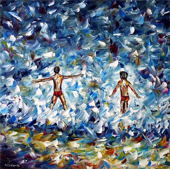 oilpainting,impressionism,bathing,playing,boys,beach,waves,swimming,childrenonthebeach,waterpainting,seapainting,playingchildren