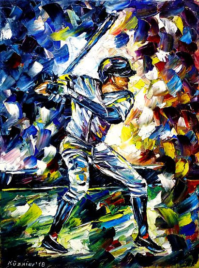 oilpainting,modern,impressionism,sports,menssports,playing,game,team,mlb,batter,catcher,umpire,pitcher,defense,offense,usa,america
