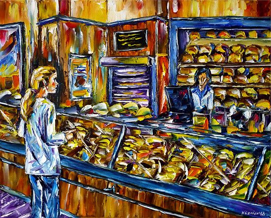 oilpainting,modern,impressionism,bakery,bakery-counter,bread,buns,cakes,sweets,shop,bakery-saleswoman,pretzels,pastries, coffee-cakes,pie,pastry,bake-house,food