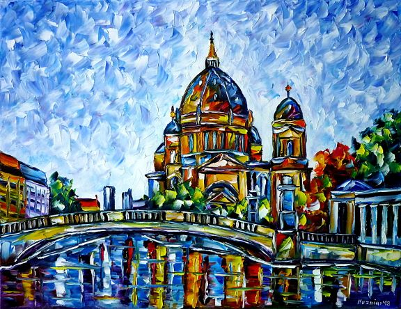 oilpainting,modern,impressionism,church, frolicsome, museumisland, capital, bridge, spree, havel, river,lively,colorful