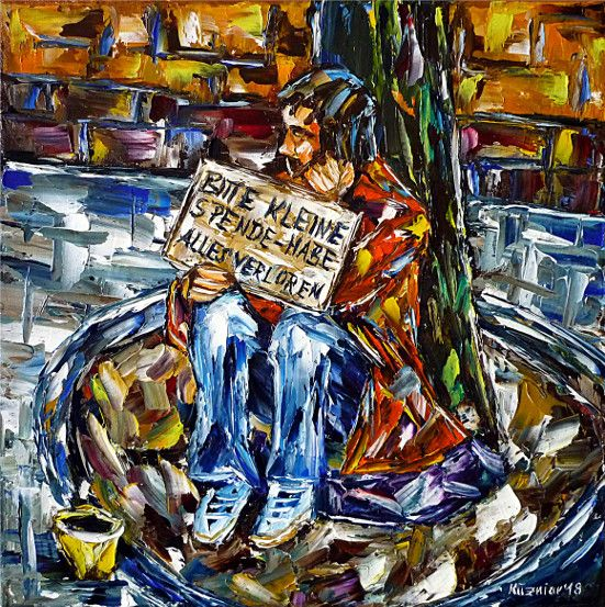 oilpainting,modern,impressionism,tramp,bum,begging,poor,poorpeople,needy,unemployed,jobless,cityscape,cityscene