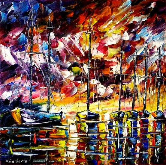 oilpainting,modern,impressionism,abstractpainting,sailboats,fishingboats,cutters,harborintheevening,eveningskypainting,seascape,fishermen,