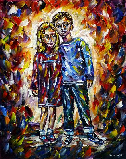 oilpainting, impressionism,siblings,siblingportrait,brotherandsisterportrait,childrenportrait,childrenpainting