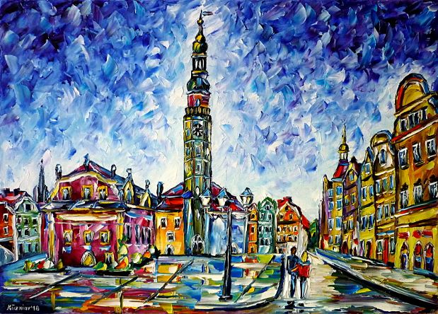 oilpainting,modern,impressionism,poland,polska,Lowersilesia,cityscape,lovers,lovecouple,walking,handinhand,hometown,lively,colorful