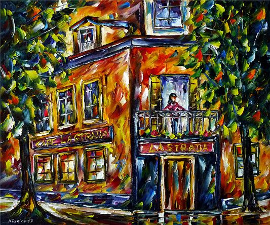 oilpainting, impressionism, restaurant, cityscape, cityscene, woman, balcony