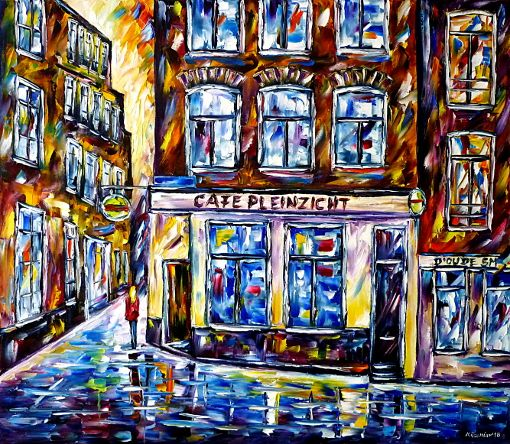 oilpainting,modern,impressionism,redlightdistrict,holland,netherlands,woman,girl,walking,restaurant,whores,housewives,brothel,bordello, prostitutes,bar,inn,cityscape,cityscene,lively,colorful