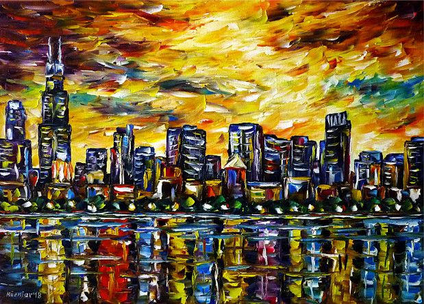 oilpainting, impressionism, america,cityscape,citypainting,skylinepainting,skypainting,water,sunset
