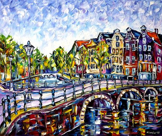 oilpainting,modern,impressionism,holland,netherlands,cityscape,amstel,ij,river,bridge,grachten,summer