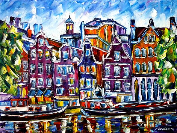 oilpainting,modern,impressionism,holland,netherlands,cityscape,amstel,ij,river,gracht,grachten,boat,boats,summer