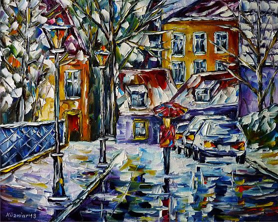 oilpainting, impressionism, winterlandscape,villagescape,winterscape,snow,walking,womanwithumbrella,cars,lantern,villageidyll