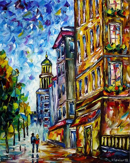 oilpainting, impressionism, love, lovecouple, handinhand,walking,cityscape,cityscene