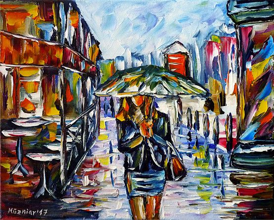 oilpainting, impressionism, cityscape, womanwithumbrella