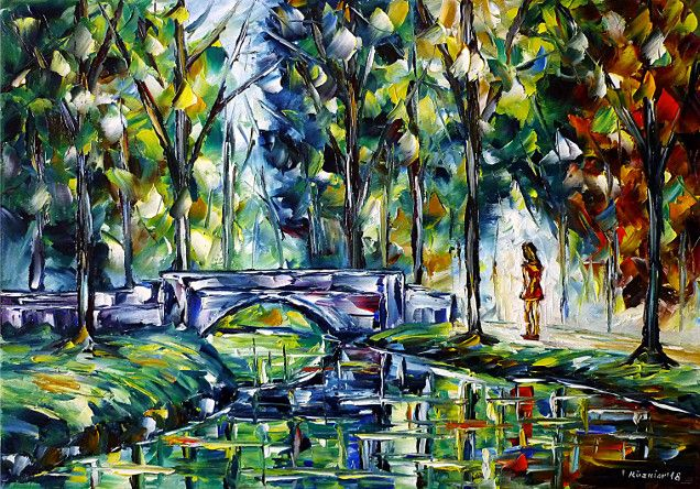 oilpainting,modern,impressionism,landscape,landscapepainting,foursessions,girl,woman,walking,bridge,riverscape,park,forest,beginningofspring