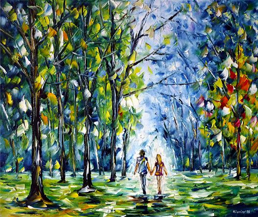 oilpainting,modern,impressionism,landscape,landscapepainting,foursessions,lovecouple,handinhand,walking,beginningofspring