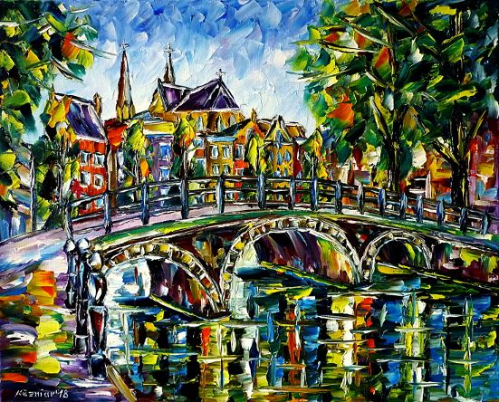 oilpainting,modern,impressionism,holland,netherlands,cityscape,amstel,ij,river,bridge,grachten,summer,green,landscape,trees