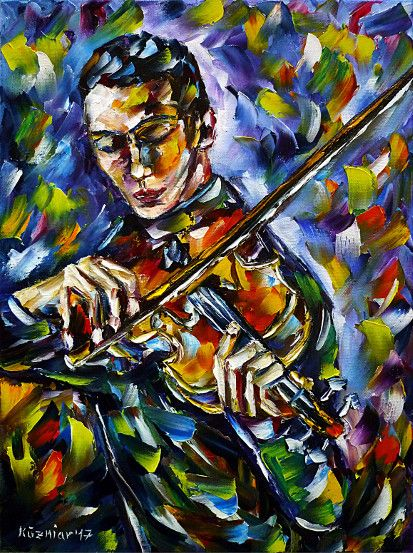 oilpainting, impressionism, violin, fiddleplaying, violinist, music, classical, gypsy
