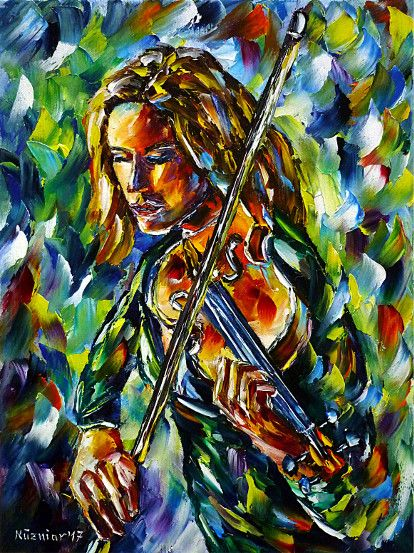 oilpainting, impressionism, violin, fiddleplaying, violinist, music, classic, girl, woman