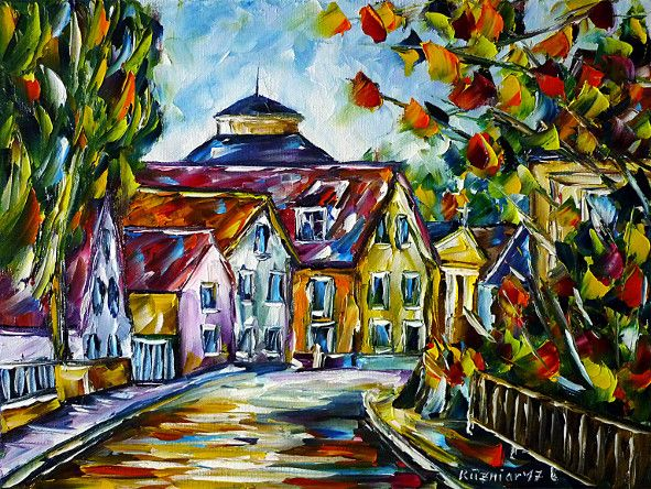 oilpainting, impressionism, villageroad, villageidyll, cityscape, Hassberge, LowerFranconia, Bavaria, autumn
