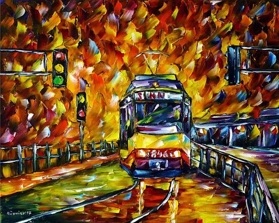 oilpainting, impressionism, cityscape,evening,trolley,tram,heilbronnstation