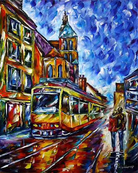 oilpainting, impressionism, cityscape,trolley,tram,kilianchurch,marketplace, cityhall,lovecouple,walking