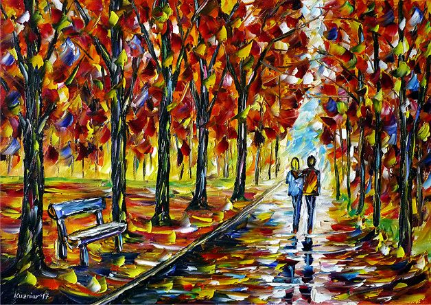 oilpainting, impressionism, autumn, lovecouple, walking, autumnpark, autumnlandscape, yellow, red