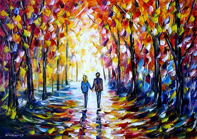 oilpainting, impressionism, autumn, lovers, lovecouple, handinhand, autumnforest, walking, autumnpark, autumnlandscape, yellow, red