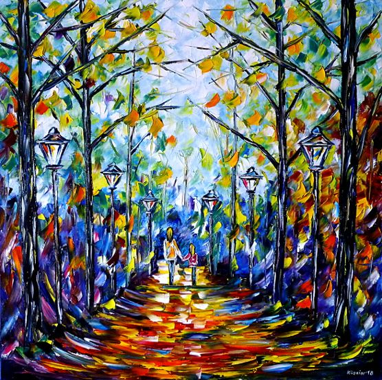 oilpainting,modern,impressionism,motherwithdaughterinthepark,motherwithchildinthepark,motherlove,womanwithchild,walking,handinhand,landscapepainting,autumnpainting,summer,autumn,autumnmood,morningmood,autumnday,lantern,lively,colorful