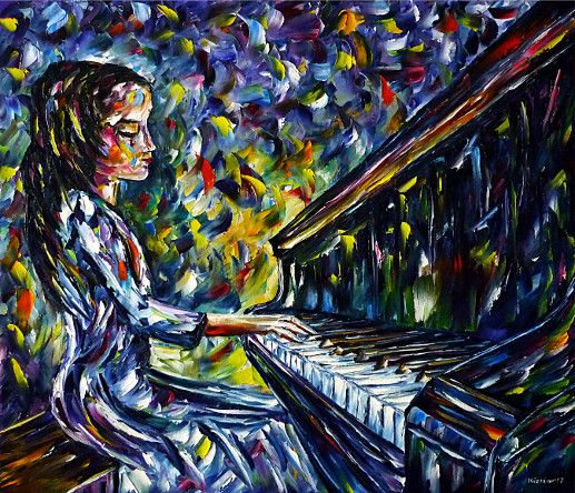 oilpainting, impressionism, pianoplaying, piano, girl, pianist, music