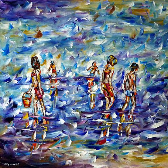 oilpainting,impressionism,bathing,bathingchildren,playing,beach,swimming,collectingshells,childrenonthebeach,waterpainting,seapainting,playingchildren
