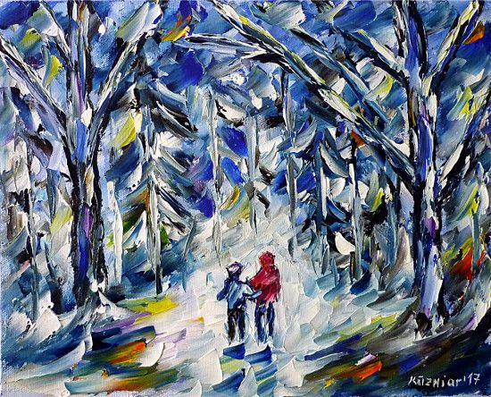 oilpainting, impressionism, winter, forest, child, snow, white