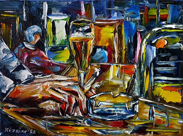 oilpainting,modern,impressionism,pub,bar,restaurant,drinking,eating,smoking,drinkers,drunkards,slots,nightlife,beer,alcohol,publife