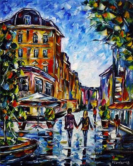 oilpainting,impressionism, lovecouple, handinhand,walking,cityscape,cityscene