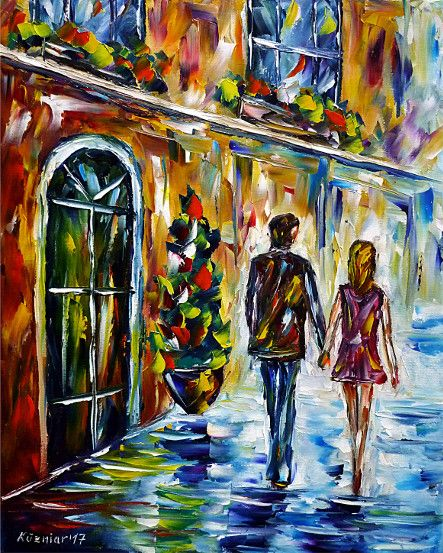 oilpainting, impressionism, love, walking, handinhand,cityscape, younglove, cafe, restaurant, italy,spain