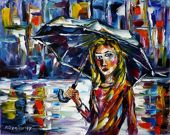 oilpainting, impressionism, cityscape, rain