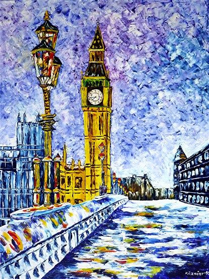 spachteltechnik, ölmalerei, impressionismus, stadtlandschaft,winterlandschaft,bigben,Towerbridge,Themse,Londonbridge