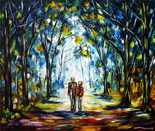 oilpainting,modern,impressionism,retirees,retiredcouple,pensioners,walking,park,forest,landscape,landscapepainting,oldpeople, seniors,awalkinthemorning,healthy,natural,nature