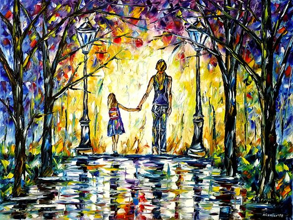 oilpainting,modern,impressionism,Mother with child,walking,Mother with daughter in the park,people-painting,children-painting,landscape,lantern,colorful,schoolgirl,schoolchild