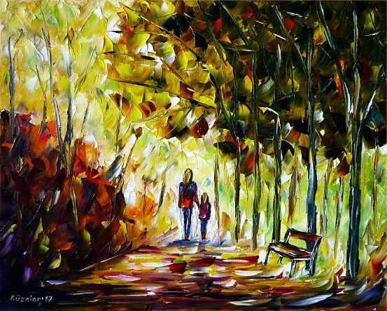 oilpainting, impressionism, autumn, autumnpark, walking, landscapepainting, nature,child