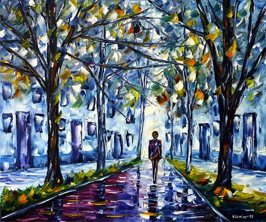 oilpainting, impressionism, autumn, walk, fog, autumn fog, cold, wet
