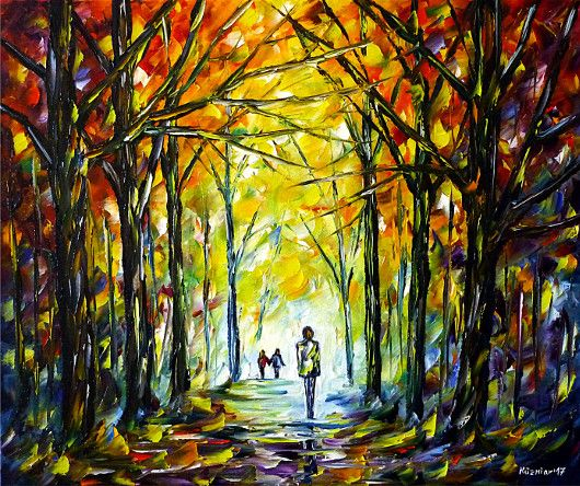 oilpainting, impressionism, autumn, park, forest, walk, colorful, autumnpark, autumnforest, landscape, autumnlandscape