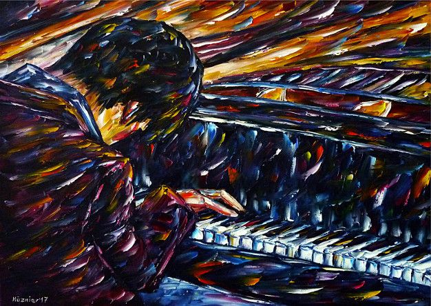 oilpainting, impressionism, pianoplaying, pianoplayer, piano, pianist, music