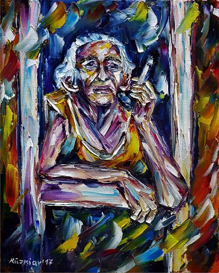 oilpainting, impressionism, Cuba, Caribbean, womanwithcigarette, window, womaninwindow