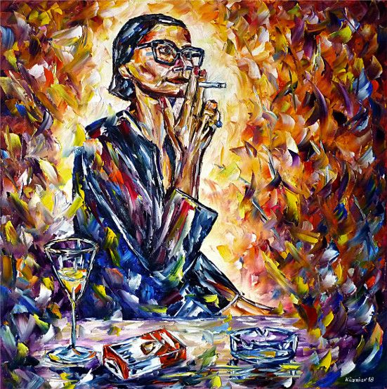 oilpainting,modern,impressionism,smoking,cigarettes,marlboro,woman-with-a-cigarette,woman-with-short-hair,woman-with-glasses,smoking-woman,cocktail-drinking